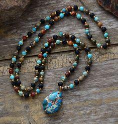 Gemstone Mala Imperial Jasper & Lava Rock Chakra Beaded Teardrop Necklace