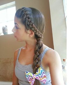 French braided headband into a four strand braid with a microbraid accent