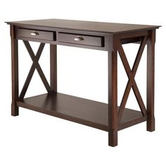 Display a vase of fresh flowers or stow greeting cards and envelopes with this 2-drawer console table, showcasing a rich cappuccino finish and crisscross sid...