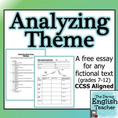 Analyzing Theme: a common core essay for ANY novel Here is a free CCSS aligned essay that works for ANY fictional text.Here is a free CCSS aligned essay that works for ANY fictional text. Teaching Literature, Teaching Themes, Teaching Writing, Essay Writing, Teaching Tools, Teaching English, Teaching Resources, Ap Literature, Literature Circles