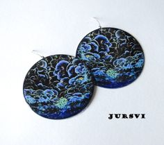 Big Round Blue Sea World Image Earrings  Polymer Clay by Pysar, $20.00