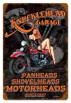 oh yaaaa!===Vintage and Retro Wall Decor - JackandFriends.com - Vintage Knuckle Garage - Pin-Up Girl Metal Sign, $39.97 (http://www.jackandfriends.com/vintage-knuckle-garage-metal-sign/)