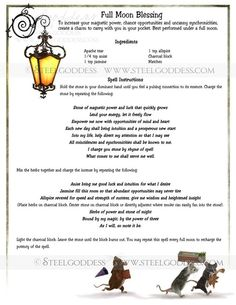 Full Moon Blessing  Book of Shadows spell pages by steelgoddess, $14.95