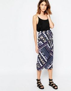 fc4f47770a0ba Warehouse Patchwork Print Wrap Skirt