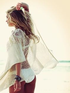 Beach chic boho style, modern hippie crochet sheer top for a freespirit gypsy feel. For the BEST Bohemian fashion trends FOLLOW http://www.pinterest.com/happygolicky/the-best-boho-chic-fashion-bohemian-jewelry-gypsy-/ now