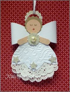 handmade Christmas ornament: Bigz Bow Days of Christmas! adorable angel down in punch art style . Christmas Ornament Crafts, Christmas Angels, Christmas Projects, Handmade Christmas, Holiday Crafts, Christmas Crafts, Christmas Decorations, July Crafts, Birthday Decorations