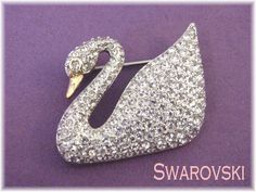 e6dc49eb7756 Swarovski - Crystal Pave Rhinestone Swan Signed Brooch Pin - 100th  Anniversary Collectors Limited Edition - Perfect Gift