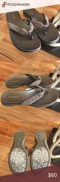 Pewter sandal ⭐️WORN ONCE⭐️ ⭐️JUST CLEANED⭐️ ⭐️SMOKE/PET FREE HOME⭐️ SOLD OUT STYLE. Beaded straps. Minor to no signs of wear as pictured. 1 inch heel. Comfy. True to size. Synthetic leather. Kenneth Cole Reaction Shoes Sandals