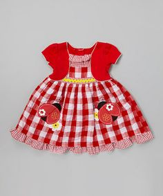 Look what I found on #zulily! Red Gingham Ladybug Ruffle Dress - Infant, Toddler & Girls #zulilyfinds