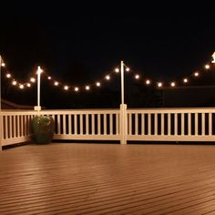 Deck Lighting Design using solar string lights and 8 ft dowels inch wide) and eye hooks mounted to the deck posts with 2 inch hole) straps on top and ... & How to Plan and Hang Patio Lights | Patio lighting Outdoor living ... azcodes.com