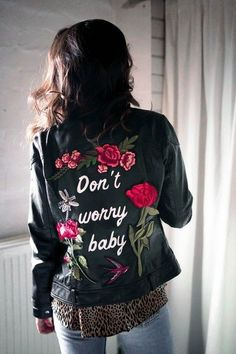 $100 Don't Worry Baby White Logo Black Leather Oversized Bomber Jacket With Red Rose Pink Rose Flower Floral Embroidered Detail Leather Jacket Tumblr