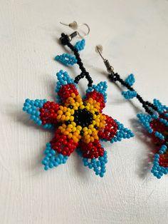 Arte Huichol Crochet Earrings, Etsy Seller, Unique, Creative, Jewelry, Stones, Art, Jewels, Schmuck