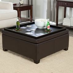 Corbett Coffee Table Storage Ottoman - Square - Ottomans at Ottomans & This ottoman can be used for storage and as a coffee table when ...