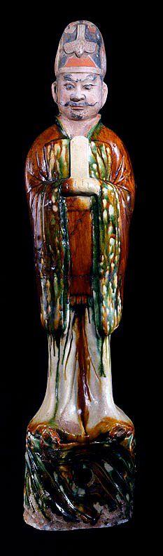 T'ang Sancai-Glazed Civic Official - H.685  Origin: China  Circa: 618 AD to 906 AD