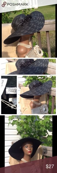 Black Kentucky derby style hat Beautiful black Kentucky style flop hat firm brim excellent condition flowers on side . Charming Charlie Accessories Hats