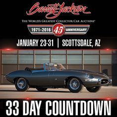 This beautiful cat is a rare one! It is one of only 500 1961  XKE roadsters built that year with an outside bonnet latch and is also one of only 385 that's left-hand-drive. Day Countdown, Barrett Jackson Auction, Collector Cars, The World's Greatest, Jaguar, Classic Cars, Cat, Beautiful