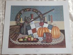 Vtg PAT PEARSON Mr Greys Autumn PRINT Signed & Numbered Gray Cat Folkart Country #Countryfolkart Mr Grey, Gray, Vintage Art Prints, Grey Cats, Painting Lessons, Folk Art, Autumn, Country, Grey