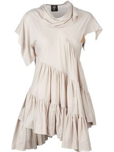 Beige cotton t-shirt from Bernard Willhelm featuring asymmetric short sleeves, a draped neckline, frill detailing and a loose fit.