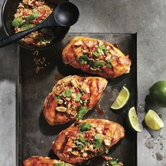 Hoisin-peanut grilled chicken recipe - An ultra-simple grilled chicken that can be thrown together in just 25 minutes — without sacrificing on style and flavour. Turkey Recipes, Meat Recipes, Cooking Recipes, Dinner Recipes, Grilled Chicken Recipes, Salmon Recipes, Chatelaine Recipes, Sauce Hoisin, Ways To Cook Chicken