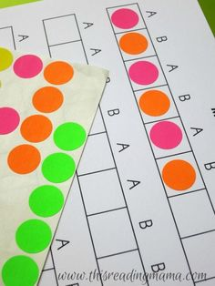 modeling making patterns with dot stickers