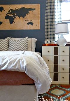 Cute boys bedroom - love the map art eclecticallyvintage.com