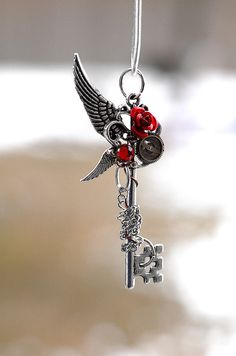 Winter Wings Rose Key Necklace by KeypersCove on Etsy, $32.00