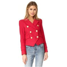 SMYTHE Cadet Jacket (€665) ❤ liked on Polyvore featuring outerwear, jackets, scarlet, peaked lapel blazer, red jacket, red double breasted jacket, peak lapel blazer and tailored blazer