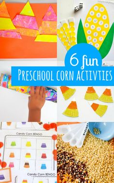 6 easy and fun preschool corn activities:  Artsy ones, STEM ones, and free printables too!  Great ideas for fall!