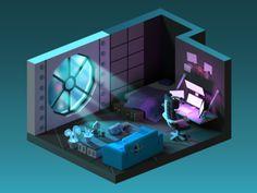 Cyberpunk room by Alex Pushilin on Dribbble Isometric Art, Isometric Design, Gaming Room Setup, Pc Setup, Bedroom Setup, Video Game Rooms, Game Room Design, Gamer Room, Modelos 3d