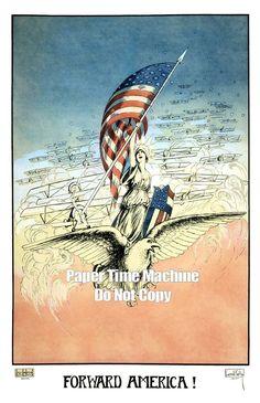 14b9d8b8241 Forward America WWI Vintage Art Print - Digitally Remastered Fine Art  Print Poster