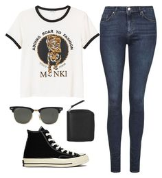 """""""Sin título #1335"""" by sofia-mendez ❤ liked on Polyvore featuring Topshop, Monki, Converse and Ray-Ban"""
