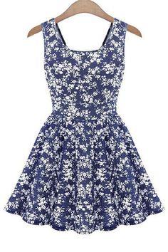 Tiny Floral Print Back Bowknot Dress