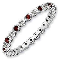 .925 Silver Stackable Garnet Eternity Diamond Ring Band Gemologica.com offers a large selection of stackable rings available in Sterling Silver, 10K, 14K and 18K yellow, rose and white gold. Our stack rings are available with all birthstones, gemstones and diamonds. Our selection includes stackable mothers rings and stackable wedding and engagement rings. Women's stacking jewelry can be found on our website here: www.gemologica.com/stackable-rings-c-27_243.html