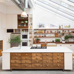 What's not to love in this studio kitchen space - Paper Mill Studios Solid Wood Kitchen Cabinets, Solid Wood Kitchens, Barn Kitchen, Studio Kitchen, Home Decor Kitchen, Kitchen Interior, Home Kitchens, Kitchen Dining, Dream Kitchens