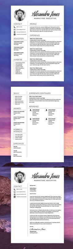 Elegant Resume Template   Creative Resume   CV Template + Cover Letter   MS  Word On Mac / PC   Modern Resumes   Instant Download