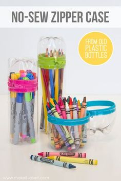 Keep pencils and crayons organized with a fun DIY pencil case! Make it out of an old soda bottle :-)