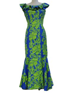 1960's Womens Mod Maxi Hawaiian Dress