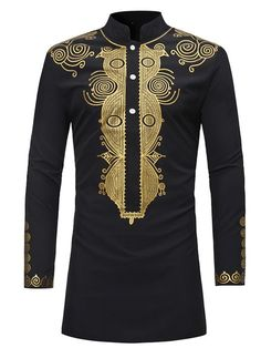 Ericdress Dashiki Men's Stand Collar Mid-Length Slim Fit Shirt