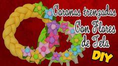 DIY Como hacer coronas de tela trenzada para Navidad con Flores de Tela