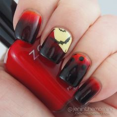 Moon and bats gradient manicure   #nail #nails #manicure #mani #gradient #stamping