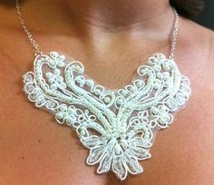White Victorian Lace and Pearl Bib Statement Necklace, Victorian Virtue