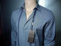 GUCCI LUXURY FINEST SELECTION SHIRT STRIPED (A110)  sz. 42 / 16.5