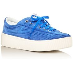 Tretron Nylite Bold Perforated Lace Up Platform Sneakers (1.337.460 IDR) ❤ liked on Polyvore featuring shoes, sneakers, blue, tretorn sneakers, laced sneakers, lace up shoes, platform shoes and platform trainers