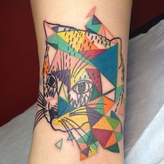Cat tattoo inspired by the artwork of Kris Tate. Done by Samatha from I Love Mom tattoo studio in Toronto, Canada 2013.