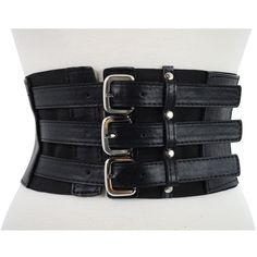 Gothic Rockabilly Steampunk Black Triple Buckle Wide Elastic Belt... ($15) ❤ liked on Polyvore featuring accessories, belts, stretchy belts, wide stretch belt, buckle belt, wide belt and stretch belt