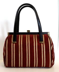 Vintage StripeTapestry Chenille Kelly Bag Vegan by PastPrezence
