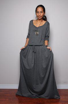 Maxi Dress   Long Sleeve Navy Grey dress  Autumn by Nuichan, $59.00