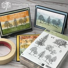 In today's post, I'll be sharing projects made with variations of the Masking Tape Technique and two retiring stamp sets, Lovely As A Tree and Amazing Life.