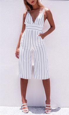 White Stripe V-neck Backless Jumpsuit Black Jumpsuit With Sleeves, Fitted Jumpsuit, Backless Jumpsuit, Strapless Romper, Jumpsuit Dress, Cream Jumpsuit, Jumpsuits For Women Formal, Womens Jumpsuits, Girls Jumpsuits