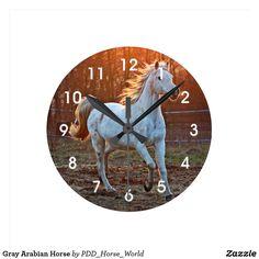 Gray Arabian Horse Round Clock